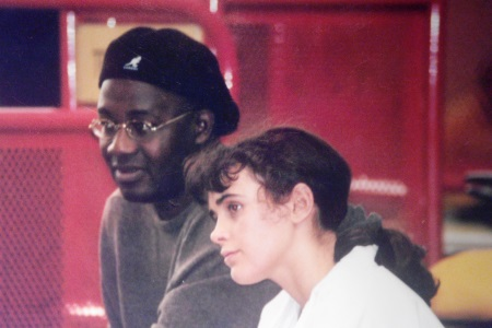 Emmeline Mottet avec son entraîneur Félicien Kondo.